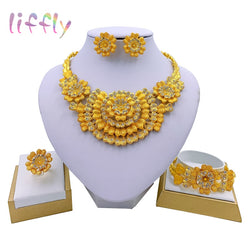 Liffly New Nigerian Wedding African Costume Jewelry Set Dubai Gold Neckace for Women Party Ethiopia Jewelry Sets