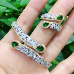 GODKI Luxury Angle Wing 2PC Bangle Ring Set Jewelry Sets For Women Wedding Cubic Zircon Crystal CZ aretes de mujer modernos 2020