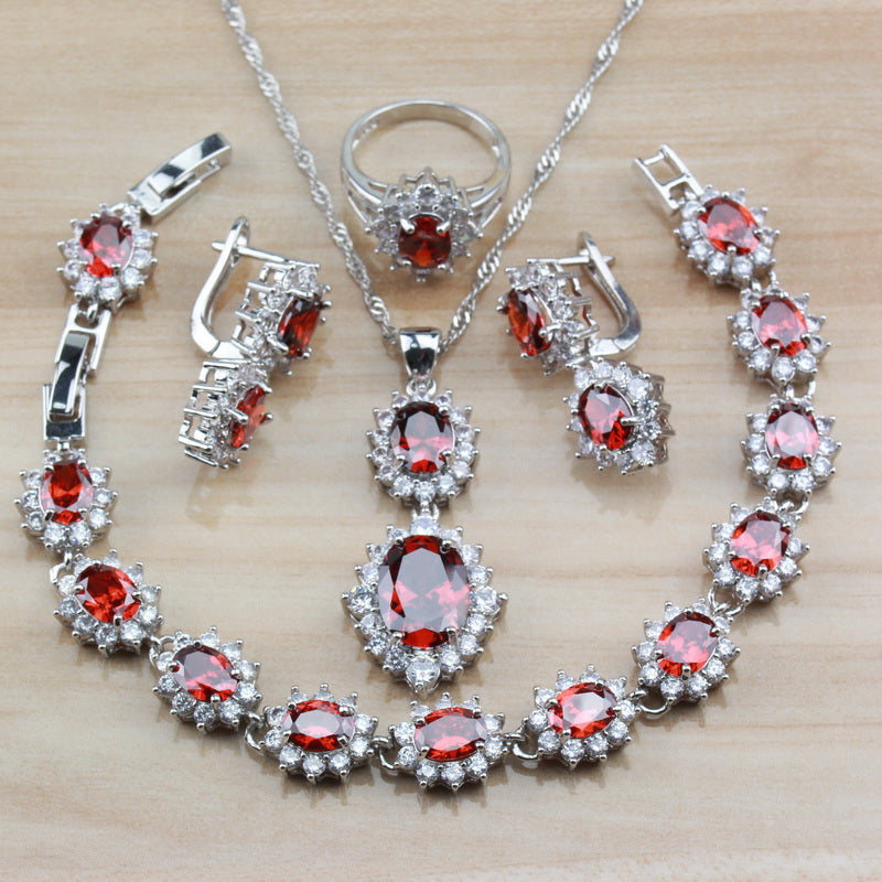 Alluring Red Rhodolite 925 Silver Bridal Wedding Costume Women Jewelry Sets Clip Earring/Necklace/Bracelet/Ring Sets