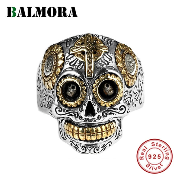 BALMORA Real 925 Sterling Silver Vintage Punk Skull Stacking Finger Rings for Men Couple Hip-pop Fashion Cool Jewelry Bijoux