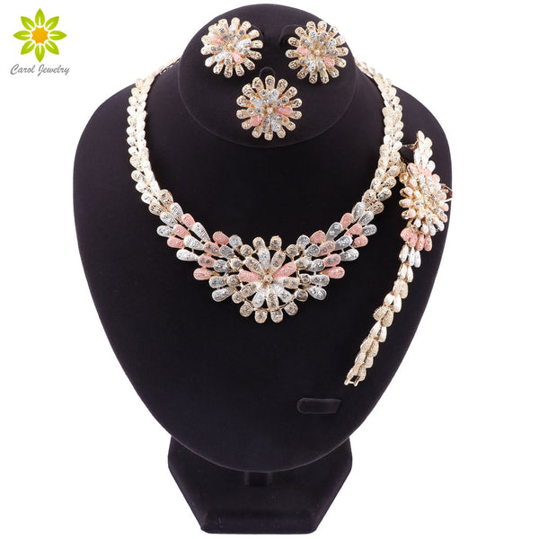 Fashion Dubai Jewelry Sets Exquisite African Beads Necklace Earrings Bracelet Ring Set Bridal Accessories Women Wedding Jewelry