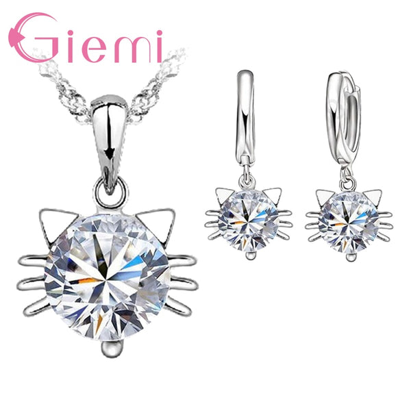 Round Cubic Zirconia Cat Shape Pendant 925 Sterling Silver Jewelry Sets for Women Girls Party Necklace Earrings