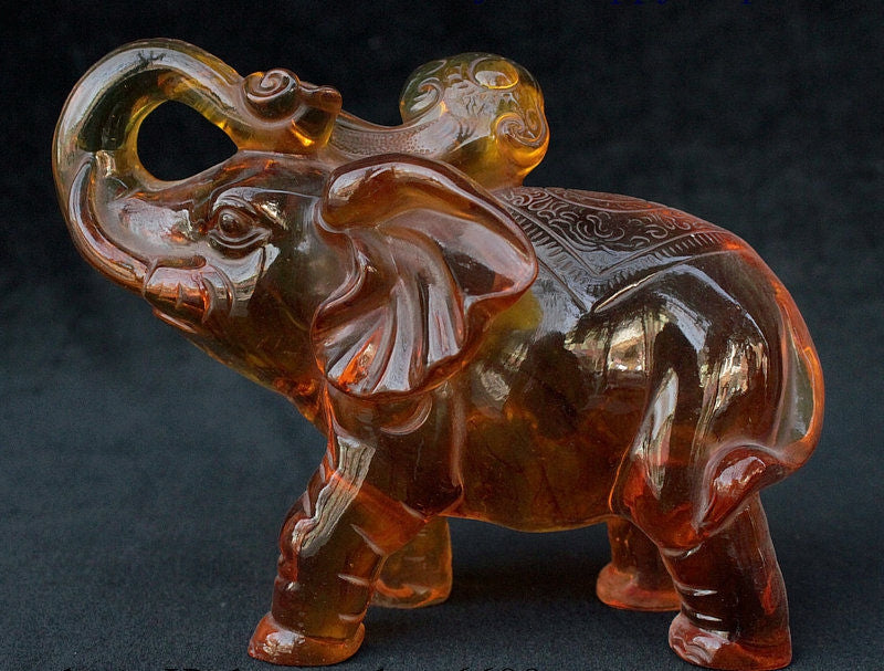 "7"" Amber Hand Carved Fengshui Animal Elephant Heffalump Ruyi Wealth Statue"