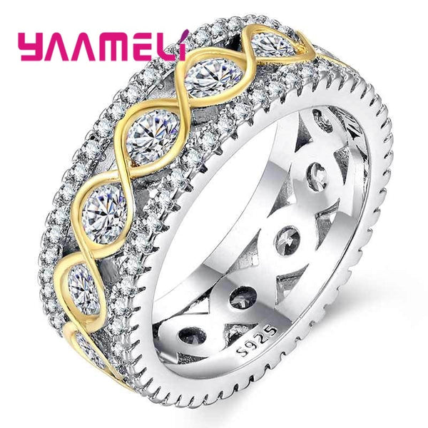 925 Sterling Silver Rings for Women Bridal Wedding Anelli Trendy Jewellery Engagement Infinity Love Anillos Mujer