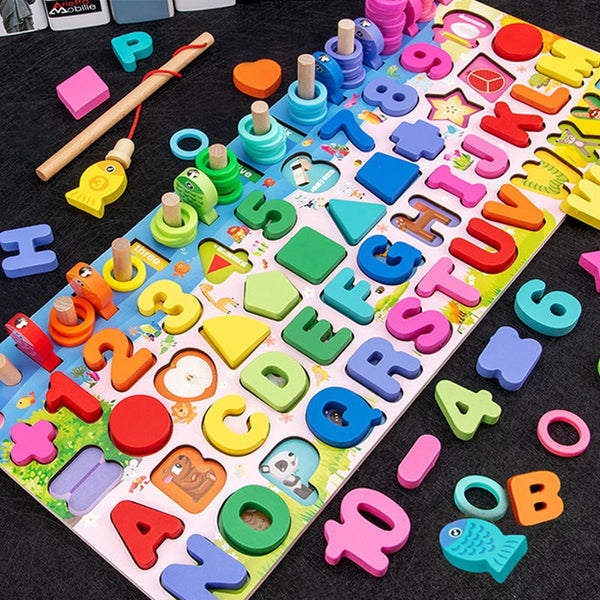 Wooden Montessori Educational Toys For Children Kids Early Learning Infant Shape Color Match Board Toy For 3 Year Old Kids Gift