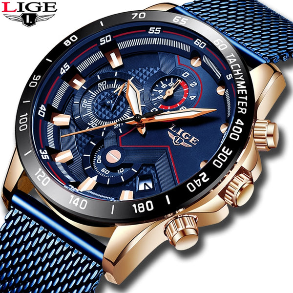 2019 New LIGE Couple Watch Fashion Top Brand Luxury Waterproof Timing Mens Watches Casual Mesh Steel Sports Quartz Women Watch
