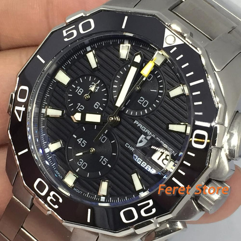 2020 New Brand PAGANI DESIGN 1617 Men's Military Sport Chronograph Quartz Waterproof Stainless Steel Top Brand Luxury Men Watch