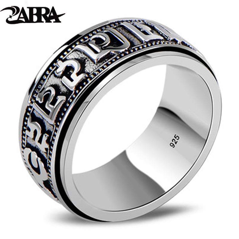 ZABRA Punk Jewelry For Men 925 Sterling Silver Spinner Ring Vintage Six Words Mantra Mens Signet Rings