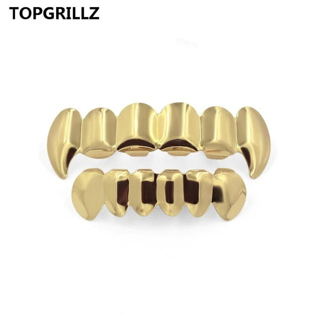TOPGRILLZ Pure Gold Color Plated HIP HOP Teeth Grillz Top & Bottom Grill Set With silicone Teeth ship from US