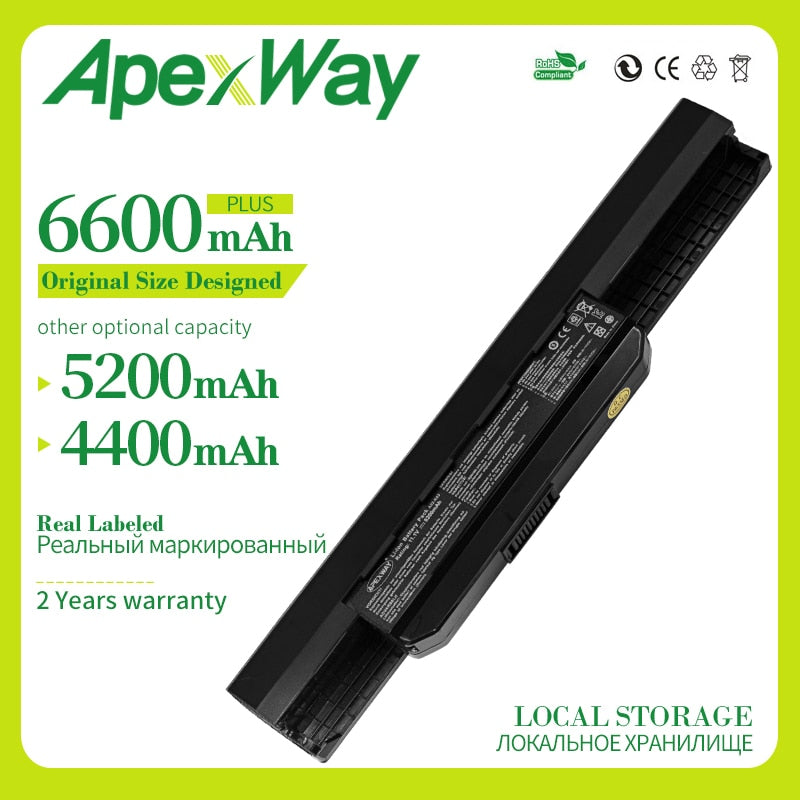Apexway 6600MAh 6cell laptop battery A32-K53 for Asus A43 A43E A53S K43E K43U K43S K43SJ K53 K53T K53S K53SV X54 X54H X44H 10.8v