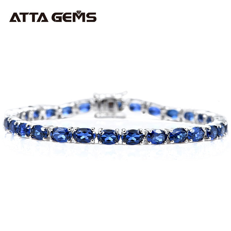 Blue Sapphire Sterling Silver Bracelet 18 Carats Created Sapphire Tennis Bracelet Women  Fashion Silver Bracelet For Wedding