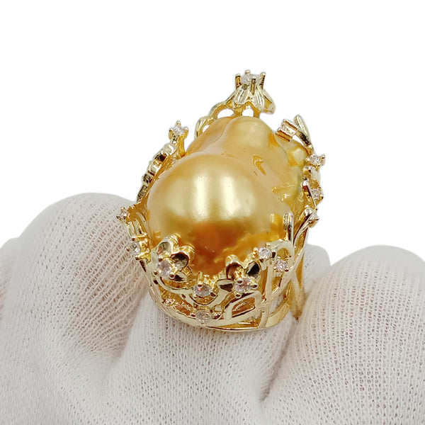 high quality golden baroque pearl ring ,100% FRESHWATER PEARL RING, big baroque pearl ring .20x30 mm pearl, plating gold color