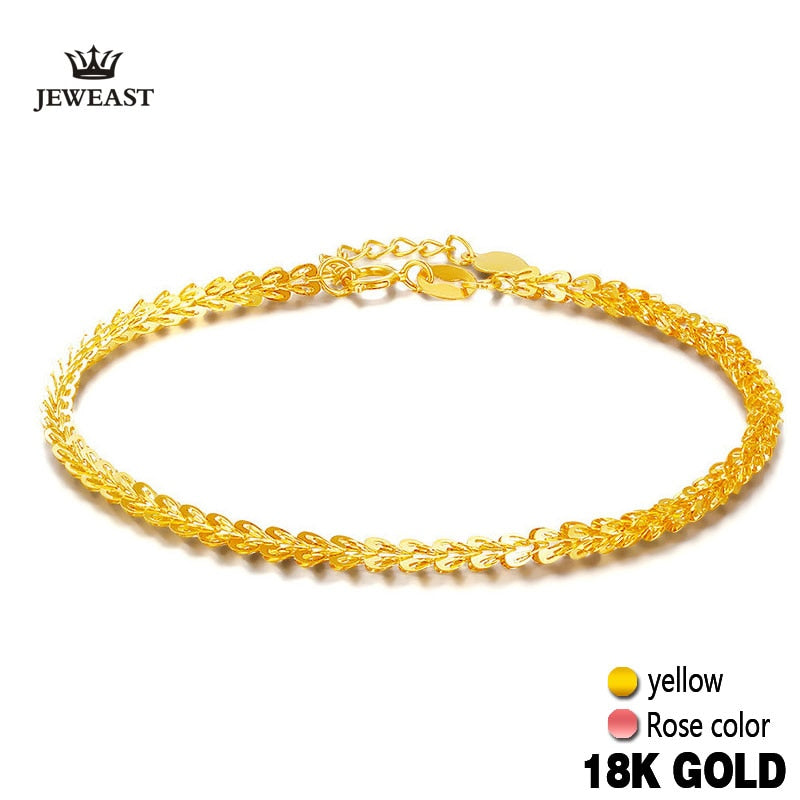 18k Pure Gold Women Bracelet Yellow Rose Girl Genuine Real Solid 750 Gift Female Bangle Upscale Hot Sale 2020 New Party Trendy