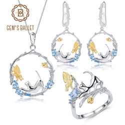 GEM'S BALLET Natural Swiss Blue Topaz 925 Sterling Silver Handmade Cat & Cupid Ring Earrings Pendant Jewelry Sets For Women