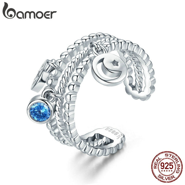 BAMOER High Quality Authentic 925 Sterling Silver Double Layer Moon Sun Dangle Ring for Women Sterling Silver Jewelry SCR350