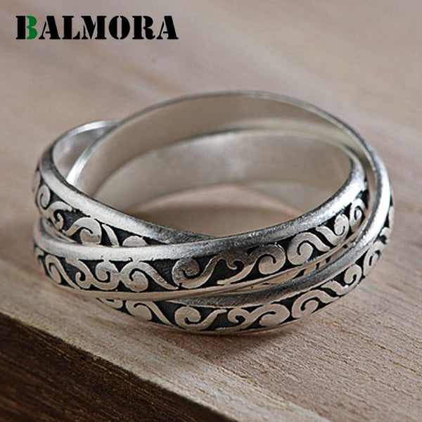 BALMORA Real 990 Pure Silver Retro Good Wish Clouds Layers Stacking Wedding Rings for Women Mother Cool Elegant Fashion Bijoux