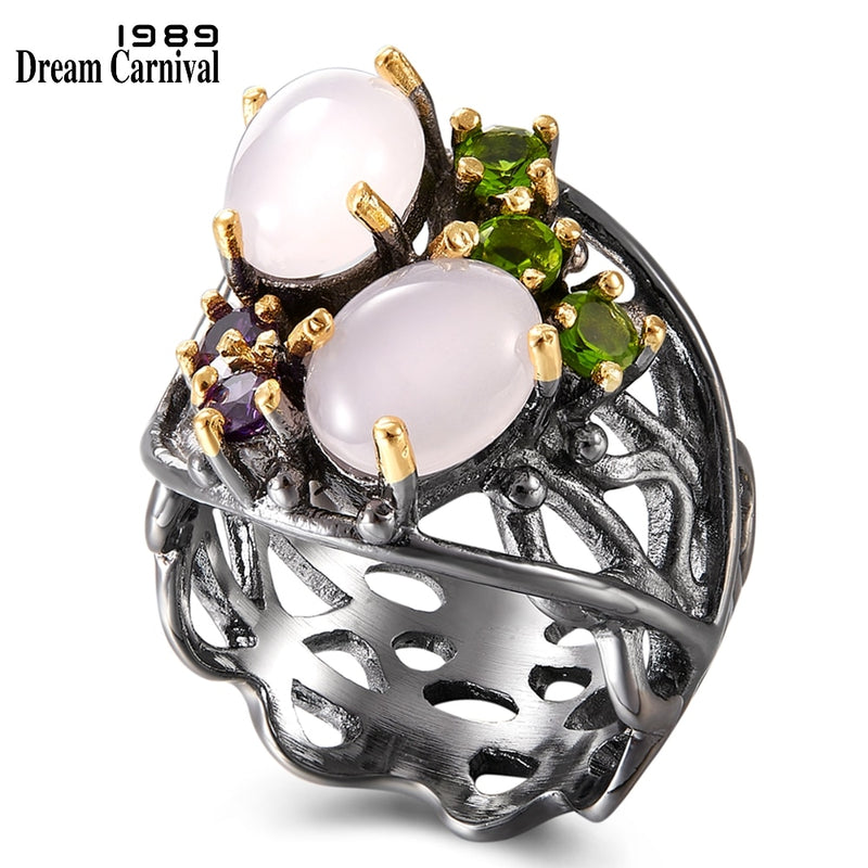 DreamCarnival 1989 Stunning CZ Rings for Women Wedding Anniversary Pinky Opal Stone Eye Catching Olivine Purple Zirconia WA11692