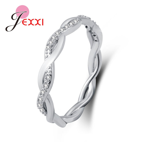 New Arrival Elegant Pure 925 Sterling Silver Special Beautiful Winding Shinning Rhinestone Fine Rings Good Girls/Women