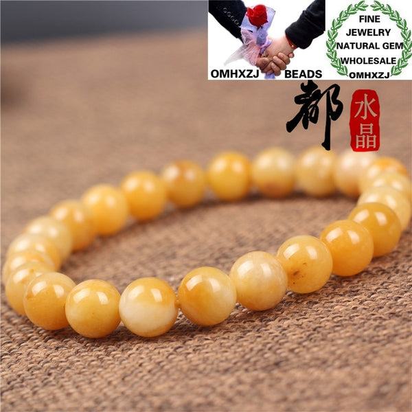 OMHXZJ Wholesale ZB385 681012mm European Fashion Birthday Party Wedding Gift Natural Stone Fine Old Yellow Jade Beads Bracelets