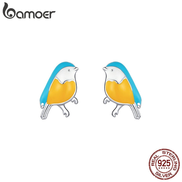 bamoer 925 Sterling Silver Little Bird Stud Earrings for Women Colorful Enamel Fashion Jewelry Pendientes 2020 New SCE845