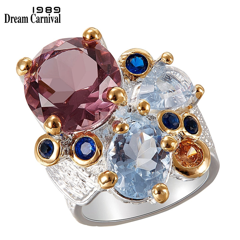 DreamCarnival1989 Super Elegant Women Engagement Rings Chic 2020 Lilac Tone Zircon Silver Gold Color Anniversary Jewelry WA11738