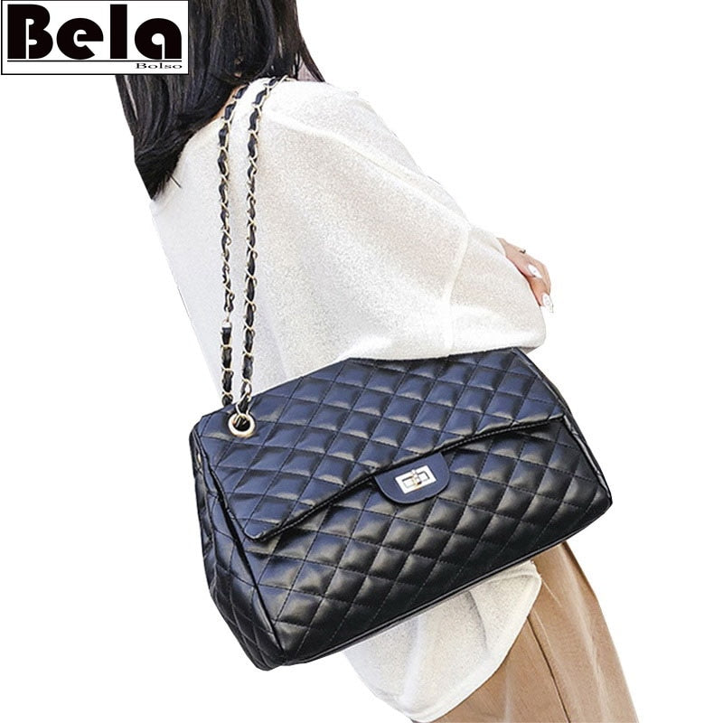 BelaBolso Thread Shoulder Bags Large Capacity Top-handle Bags For Women Chain PU Leather Handbags Women Luxury Bag Female HMB654
