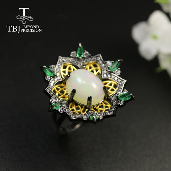 TBJ,2020 new luxury Opal gemstone Ring oval 10*12mm 3ct up natural Emerald women ring 925 sterling silver fine jewelry   gift