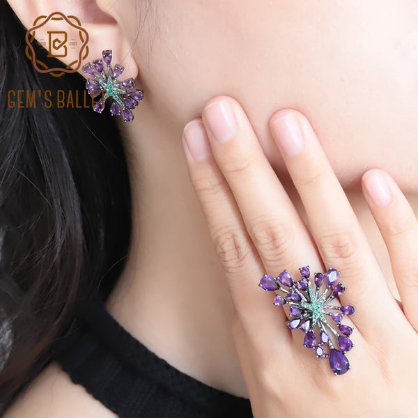 GEM'S BALLET Hot Sale Natural Amethyst Vintage Gothic Jewelry Sets For Women 925 Sterling Silver Gemstone Earrings Ring Set