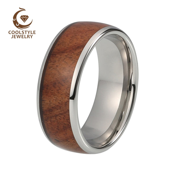 8mm Tungsten Carbide Wedding Ring For Men Women Koa Wood Inlay Dome Engagement Anniversary Comfort Fit Size 5-15