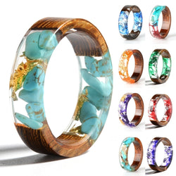 Wood Resin Ring Transparent Epoxy Resin Ring Fashion Handmade Dried Flower Wedding Jewelry Love Ring for Women 2020 New Design