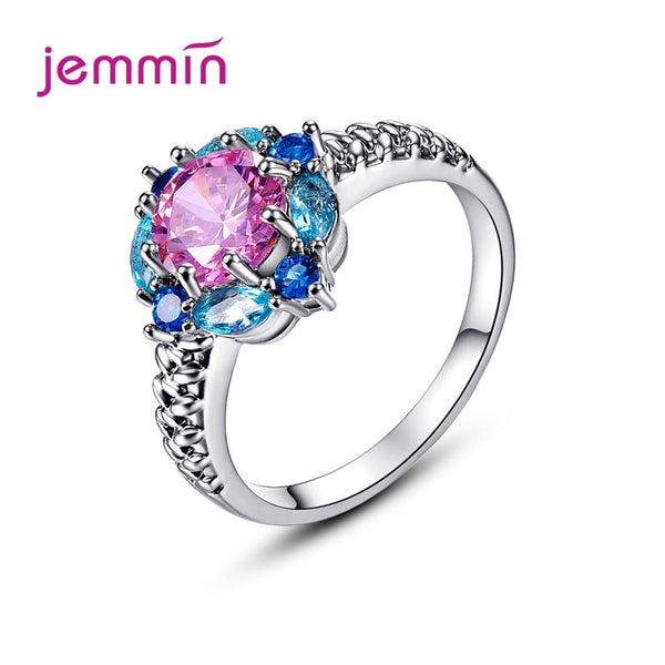 Latest Fashion Trend Genuine 925 Sterling Silver Wedding Rings Colorful Crystal Round Rings With Clear Carved Veins Top Sale