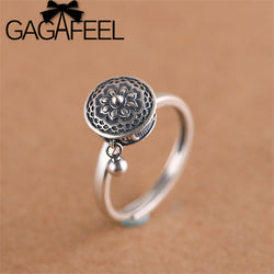 GAGAFEEL Retro Thai Silver Ring Women's Six-word Mantra Open Ring Prayer Wheel Design Jewelry S925 Sterling Silver Rings