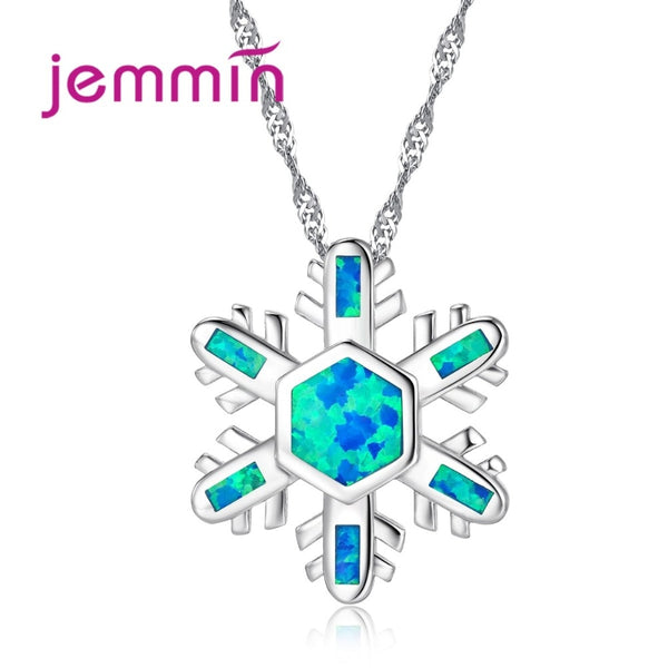 Fine Ocean Blue Fire Opal Pendants Necklaces For Women Lovely Snowflake 925 Sterling Silver Statement Necklace Jewelry