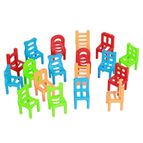 Original Box Hehepopo 18 Pcs / Set Board Game Balance Chairs Adult Kids Stacking Game Small Gift DIY Interactive Table Games