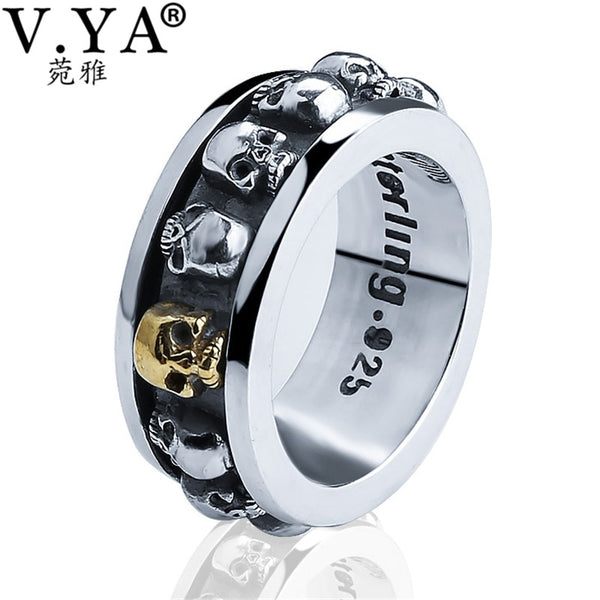 Wholesale 100% Real Pure 925 Sterling Silver Ring Thai Silver domineering retro skull ring Men Jewelry HYR08