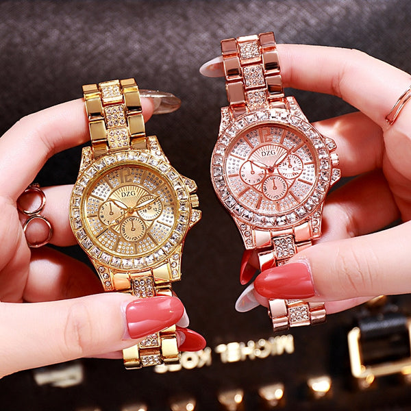 Ladies Rose Gold Quartz Watch Women Fashion Casual Fake Three Eyes Six Pins Rhinestone Dress Watch Lady Watch Gift Relojes Mujer