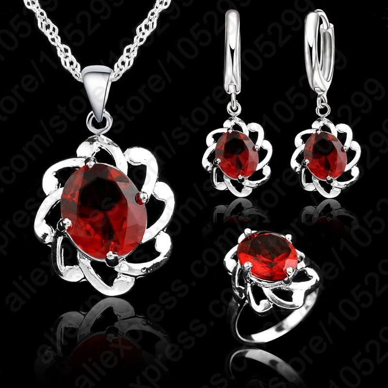 Vintage Wonen 925 Sterling Silver Jewelry Sets Hollow Out Austrian Crystal Pendant Necklaces Earrings Ring Brides Set