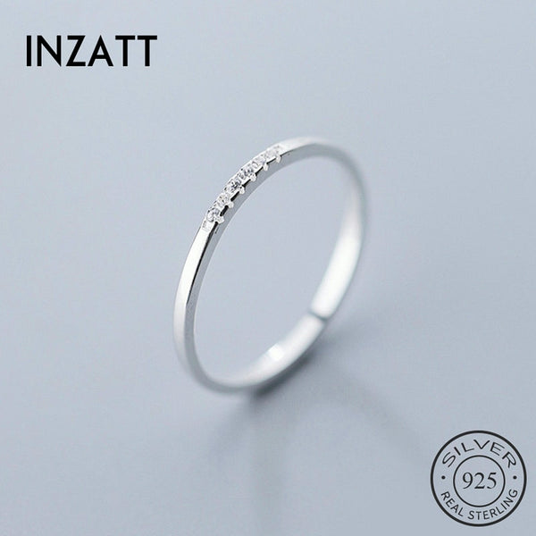 INZATT Real 925 Sterling Silver Zircon Geometric Round Ring For Fashion Women Fine Jewelry Minimalist Cute Accessories 2020 Gift