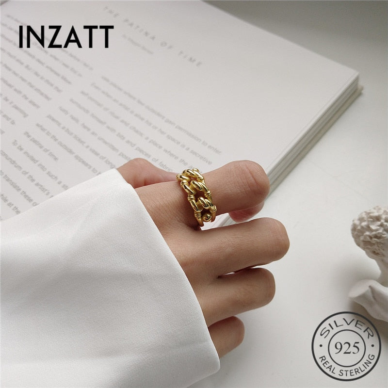 INZATT Real 925 Sterling Silver Gold Color Industrial style Adjustable Ring Neo-Gothic Fashion Jewelry For Women Birthday party