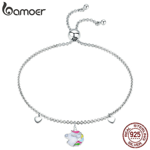 BAMOER Fashion New 925 Sterling Silver Licorne Memory Bracelets for Women Colorful Enamel Bangles Bracelet Silver Jewelry SCB106