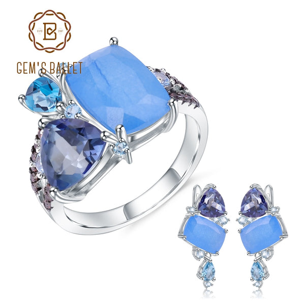 GEM'S BALLET Natural Aqua-blue Calcedony Geometric Casual Jewelry 925 Sterling Silver Ring Earrings Jewelry Set For Women Gift