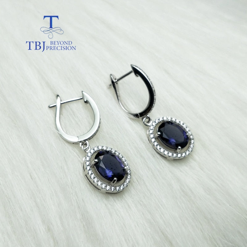TBJ,Natural India iolite 3ct gemstone clasp earring solid 925 sterling silver and yellow gold color shiny gift for women girls