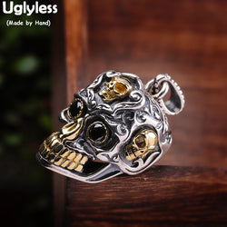 Uglyless Cool S team Punk Men Skull Pendants NO Chains Skeleton Necklaces 925 Silver Guys Stage Dress Necklace Thai Silver P783