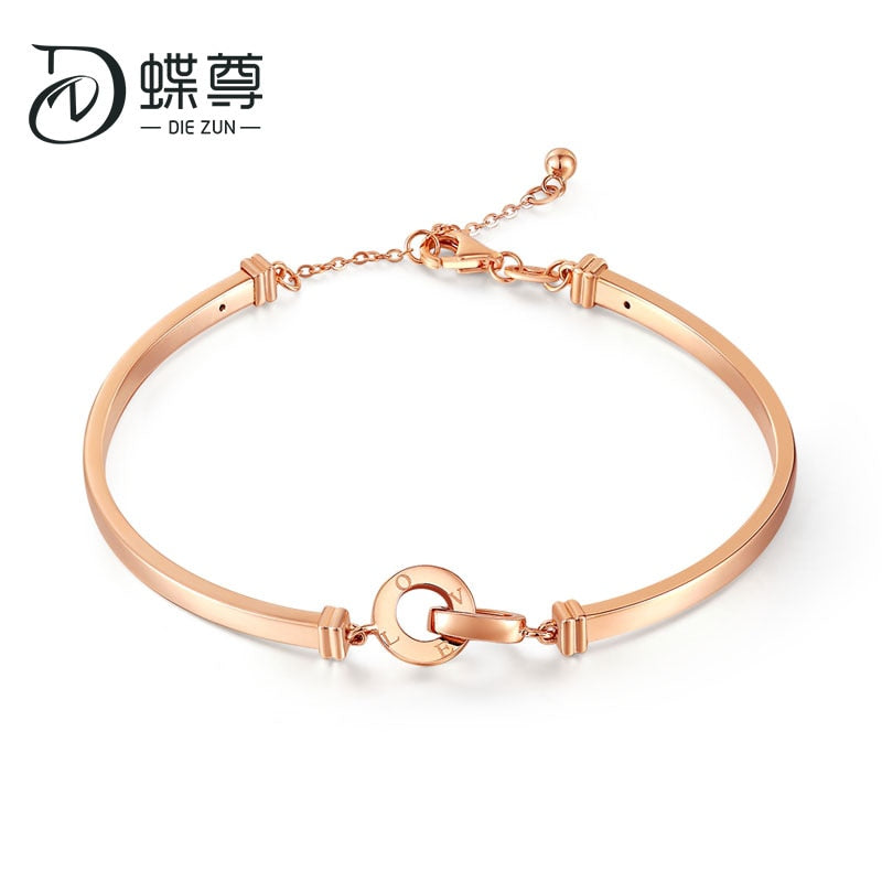 18K Golden Rose Gold Double-Ring Button Simple Women's Style AU750