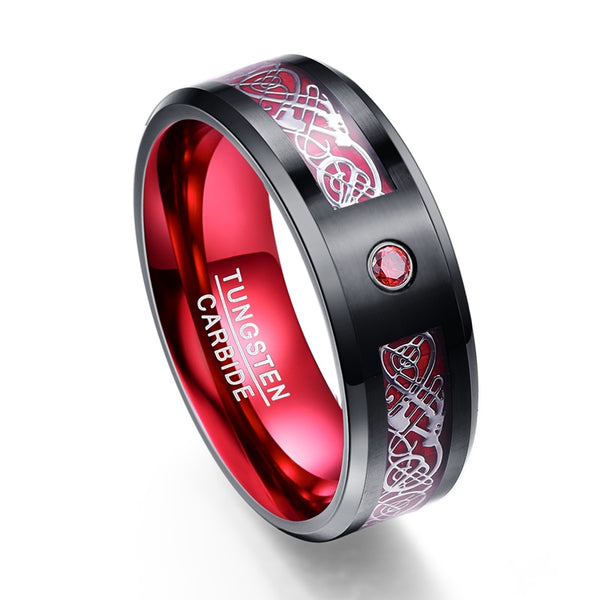 AAA Quality New Arrival Silver Dragon Pattern Red Zircon Men Rings 100% Tungsten Carbide Wedding Bands Rings For Men