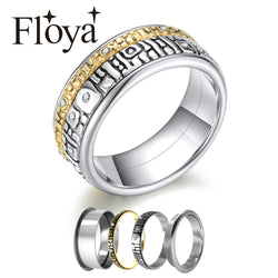 Floya Interchangeable Rings For Combination Retro Stainless Steel Arctic Symphony Rings Reversible Mix & Match Rings Bague Femme