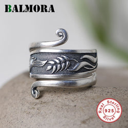 BALMORA Original 100% Real 925 Sterling Silver Flower Leaf Rings For Women Adjustable Open Ring Valentine's Day Gift Jewelry