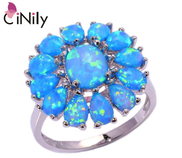 CiNily Created Blue Fire Opal Silver Plated Wholesale Hot Sell Fashion for Women Jewelry Wedding Party Ring Size 10 OJ4595
