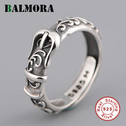 BALMORA Real 999 Pure Silver Retro Belt Pattern Open Stacking Finger Ring For Men Women Fashion Flower Jewelry Christmas Gifts