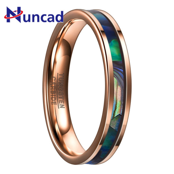 Fashion Desgin Unisex Rings 4MM Wide Rose Gold Inlaid Abalone Shell 100% Tungsten Steel Ring Women Men Party Jewelry Gift